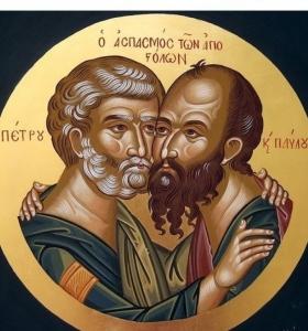 Ιερά Αγρυπνία για την εορτή Πέτρου και Παύλου και πρωινή Θεία Λειτουργία.